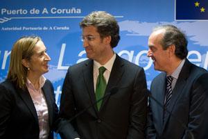 Alberto Núñez Feijóo visitó las obras del Puerto Exterior de A Coruña con la ministra de Fomento, Ana Pastor.