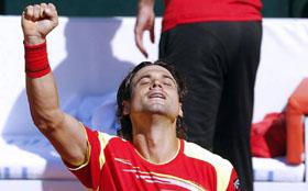 David Ferrer celebra su victoria.
