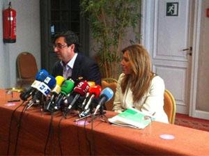 Susana Díaz y José Luis Centella.