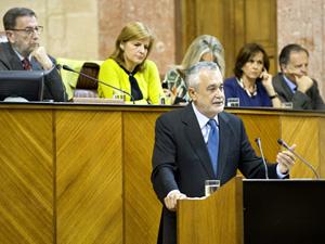 El reelegido presidente de la Junta, José Antonio Griñán, en su discurso de investidura.