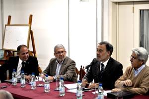 Carlos Cortón, el delegado de la Xunta en Uruguay, Manuel Barros, el embajador Roberto Varela y Antonio Ríos.