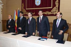 El presidente Núñez Feijóo con los titulares de las diputaciones de Ourense, A Coruña, Lugo y Pontevedra.