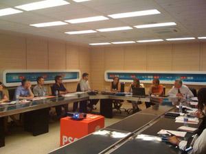 Imagen de la reunión en la sede del PSOE en Madrid.