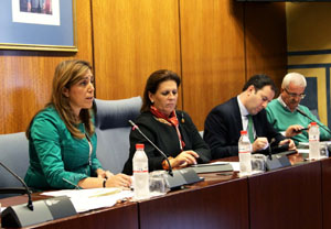 La consejera de Presidencia e Igualdad, Susana Díaz, presentó los presupuestos de su departamento en el Parlamento.