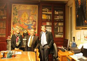 Dolores Roque, Luis Iglesias y el ministro de Interior francés, Manuel Valls.