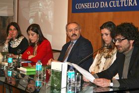 Olivia Rodríguez, izquierda, Emilia García López, Ramón Villares, Sabela Paz-Andrade y Henrique Alvarellos.