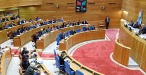 Una vista de la sesión en el Parlamento gallego en la que se eligió a las diputadas.