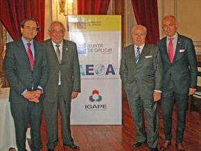 Castro, Méndez, José Benito López Carballedo (presidente del Club Español de Buenos Aires) y Camba.