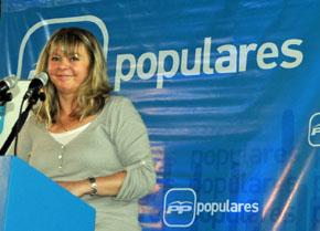 Esperanza Romariz en un mitin del PP en Uruguay.