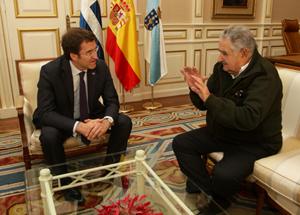 Alberto Núñez Feijóo y José Mujica destacaron que la relación entre Galicia y Uruguay viene de lejos y tiene sólidas raíces.