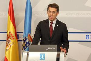 Alberto Núñez Feijóo, en la rueda de prensa posterior al Consello de la Xunta.