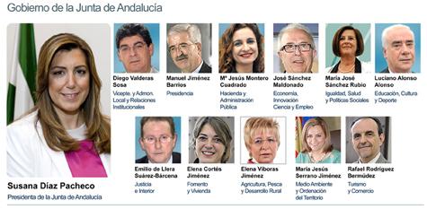 Fotografías del nuevo Gobierno andaluz presidido por Susana Díaz Pacheco, facilitadas por la Junta de Andalucía.