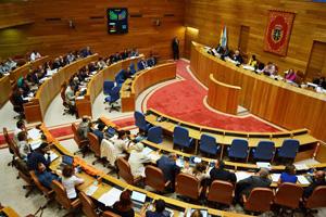 Un momento de la votación en el Parlamento de Galicia.