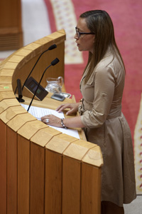 La conselleira de Facenda, Elena Muñoz Fonteriz, en una intervención en el Parlamento.
