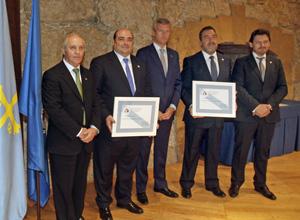 Manuel Fernández Quevedo, Agustín Iglesias Caunedo, Alfonso Rueda, Miguel Carballeda y Antonio Rodríguez Miranda.
