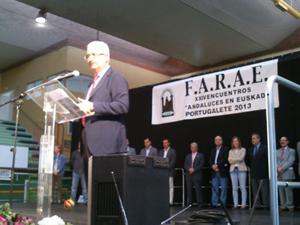 El consejero de la Presidencia, Manuel Jiménez Barrios, durante su intervención en el acto.