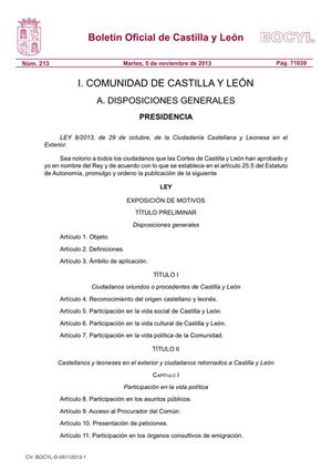 Encabezamiento de la Ley según aparece en el Boletín Oficial de Castilla y León (Bocyl).