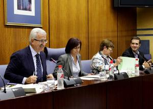 El consejero de la Presidencia, Manuel Jiménez Barrios, durante su comparecencia en la Comisión de Asuntos Europeos.