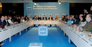 Rajoy presidió el tercer Consejo de Españoles Residentes en el Exterior del PP que se celebró en León en enero de 2011.