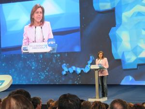 La secretaria general del Partido Popular, María Dolores de Cospedal, en una de sus intervenciones en la Convención Nacional celebrada en Valladolid.