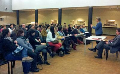 Reunión con la consejera de Educación, Mercedes de Castro, en Frankfurt.