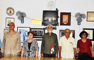 Raúl Parrado, María Rico, José López Botello, Manuel Vallejo y María A. Rabanillo en la presidencia del acto.