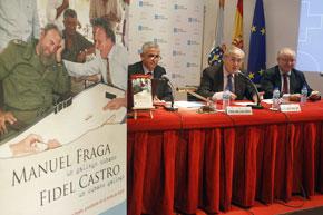 Alvelo, Ónega y Pérez-Desoy con el cartel del libro en primer plano.