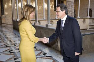 La presidenta de la Junta, Susana Díaz, y el president de la Generalitat, Artur Mas.