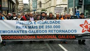 Manifestación de emigrantes retornados celebrada en A Coruña el pasado mes de marzo.