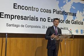 Alberto Núñez Feijóo en su intervención en el encuentro de las oficinas de la red Pexga.