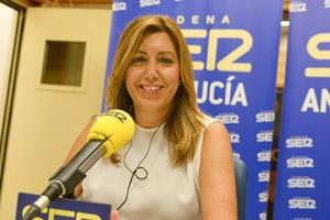 La presidenta andaluza, durante su entrevista en la Cadena SER.