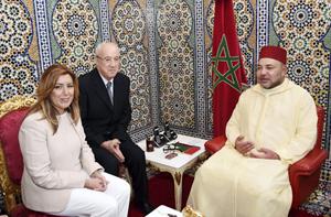 La presidente de la Junta, Susana Díaz, en el encuentro que mantuvo con el Rey de Marruecos, Mohammed VI.