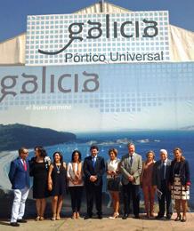 Rodíguez Miranda, en el centro, inauguró el área 'Galicia, Pórtico Universal' en Córdoba.
