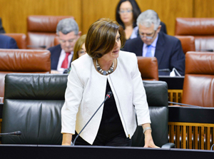La consejera María José Sánchez Rubio, durante la sesión de control en el Parlamento.