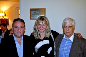 Alfredo Prada, Esperanza Romariz y Constantino Mato en la sede del PP.