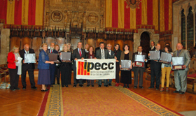 Los premiados con el alcalde de Barcelona, Xavier Trias.