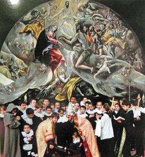 Fotomontaje realizado por los alumnos españoles como protagonistas del cuadro El entierro del Conde de Orgaz.