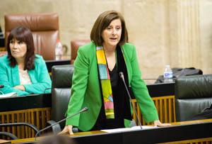 La consejera de Igualdad, Salud y Políticas Sociales, María José Sánchez Rubio, en la sesión de control al Gobierno en el Parlamento.