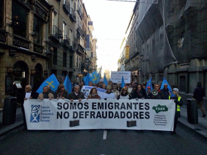 Manifestación en Madrid de los emigrantes retornados del pasado 10 de diciembre.