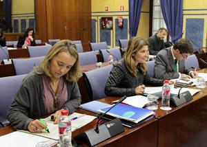 Diputados del Grupo Popular en la sesión de la Comisión de Presidencia en el Parlamento andaluz.