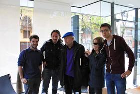 Jorge Castrillón con Pablo Iglesias, Eduardo Galeano e Íñigo Errejón, número dos de Podemos.