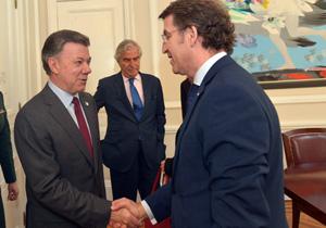 El presidente de la Xunta, Alberto Núñez Feijó, finalizó su viaje con una reunión con Juan Manuel Santos, el presidente de Colombia.