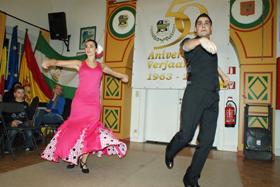 Una de las actuaciones en el acto organizado por la Peña Andaluza.