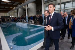 Feijóo durante la visita a las nuevas instalaciones del Balneario de Cortegada.