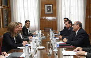 Fátima Báñez y Guillermo Sosa, con el resto de las delegaciones, durante su reunión.