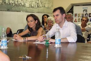 José Miguel Herrero y María de Diego en una reunión en La Habana con la colonia castellana y leonesa.