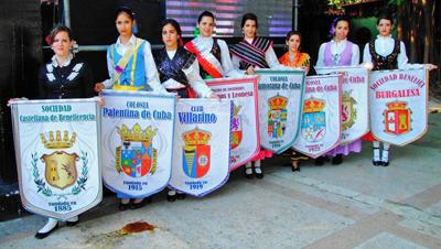Los estandartes de las siete casas regionales de Castilla y León en Cuba y el de la Agrupación.