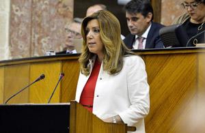 Susana Díaz, durante su discurso de investidura en el Parlamento andaluz.