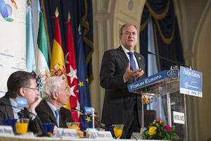 El presidente de Extremadura, José Antonio Monago, en la conferencia-desayuno de Nueva Economía Fórum en Madrid.