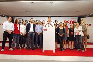 El secretario general del PSOE, Pedro Sánchez, realizó una valoración positiva de la jornada electoral.